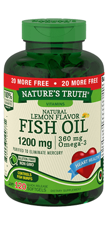 Omega-3 Fish Oil 1200 mg Natural Lemon Flavor