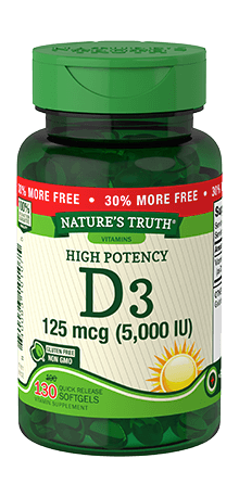 High Potency Vitamin D3 125 mcg (5,000 IU)