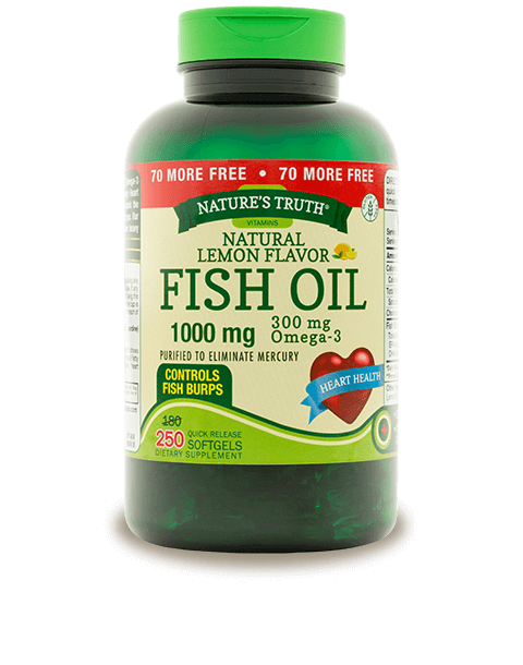 Omega 3 fish oil 1000 mg natural lemon flavor nature 39 s truth for Fish oil 1000 mg