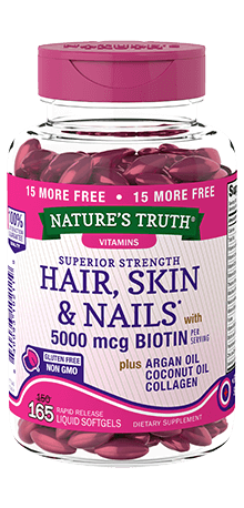 Hair, Skin & Nails* Softgels <br>plus 5000 mcg Biotin