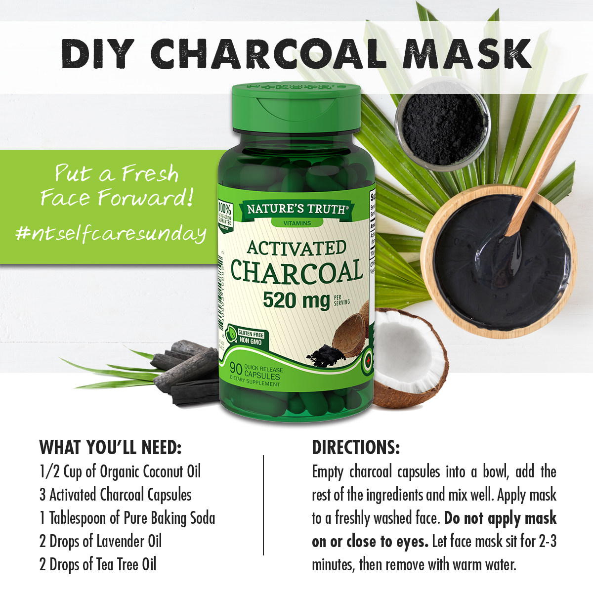 relaxing DIY face mask using Activated Charcoal, Coconut Oil, 100% Pure Lavender Oil, and 100% Pure Tea Tree Oil