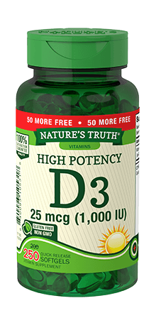 High Potency Vitamin D3 25 mcg (1,000 IU)